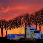 sunset-transport-truck-travel-road
