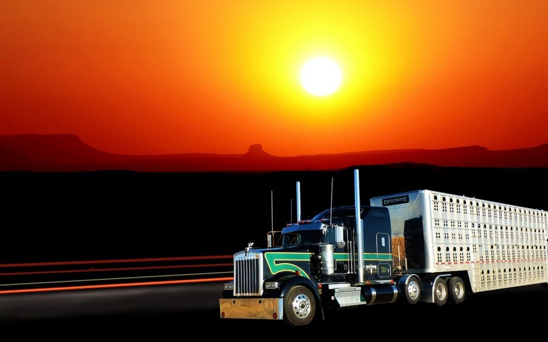Sunset truck american rest traffic