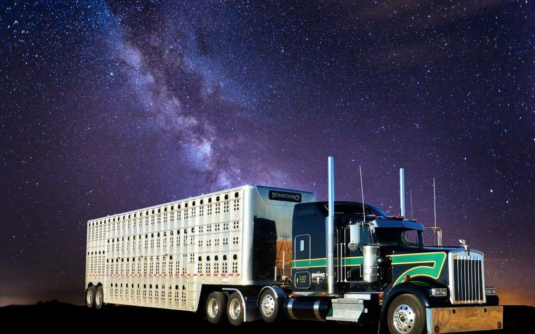 Transport truck aurora view
