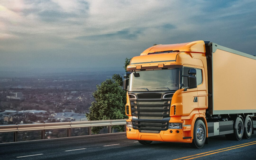 Orange truck ran road scaled